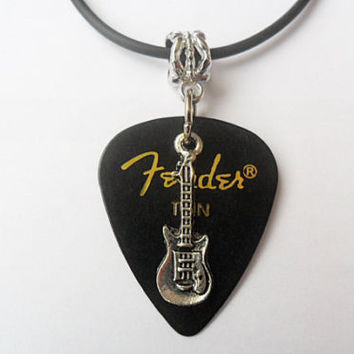 Black Fender guitar pick necklace, musical necklace, guitar pentant necklace | eBay