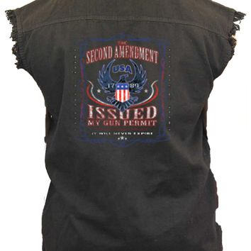 Men's Sleeveless Denim Shirt 2nd Amendment My Gun Permit