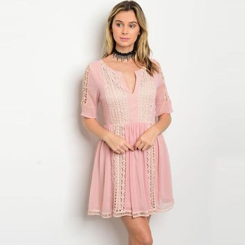 Shop The Trends Women's Short Sleeve Dress with Fitted Waist and Crochet Details