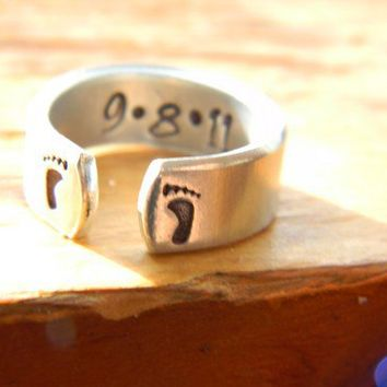 mother's day footprints customized ring