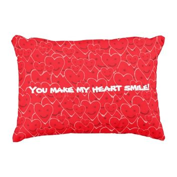 Cute Happy Smiling Red Hearts Pattern Quote Accent Pillow