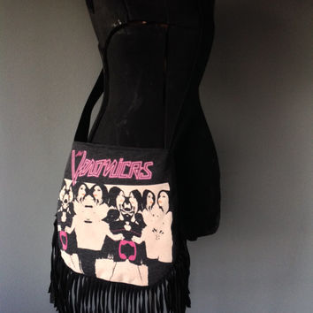 THE VERONICAS - Upcycled Rock T-Shirt Fringe Purse - ooak