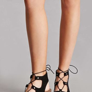 Faux Suede Studded Cutout Heels