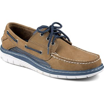 Billfish Ultralite 3-Eye Boat Shoe in Taupe and Blue by Sperry