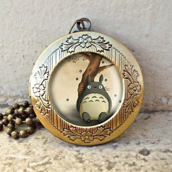 Totoro Glass Dome Necklace in Antique Bronze Necklace- ready for gifting