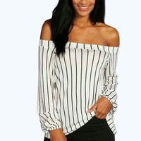 Lauren Stripe Off The Shoulder Swing Top | Boohoo
