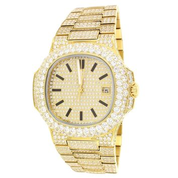 Steel 14k Gold Finish Solitaire Bezel Luxury Men's Watch