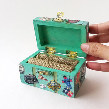 INTRO PRICE Mint Treasure Chest Ring Bearer - Travel Wedding Ring Box - Treasure Chest Ring Box - Wedding Ring Box - Rustic Ring Bearer