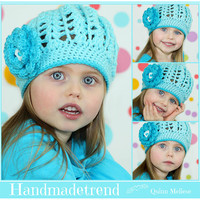 Girls crochet hat, Spring toddler hat, baby blue beanie, floral kids hat, crocheted cap, kids crochet gift, spring girl fashion, teen gift