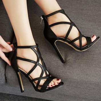 Fashion Street Shoes Summer New Fish Mouth Tie Combination Pure Open-toed Fine-heeled Super High-heeled Sandals