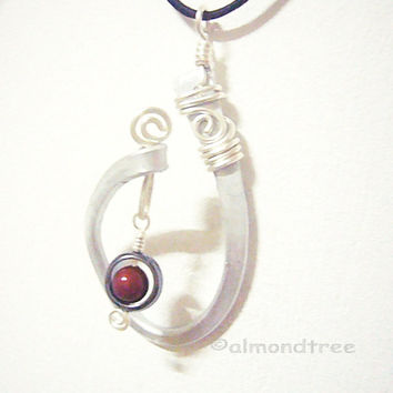 Swinging Illusion red black pendant, optional chain necklace id1360568 wire wrapped jewelry, jewellery ooak