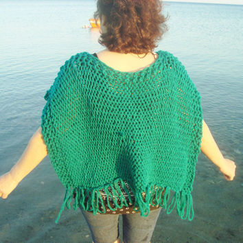 Hand Knit Poncho Womens Poncho - Shawl Sweater Poncho in Green Knit Poncho - Womens Accessories Spring Fashion