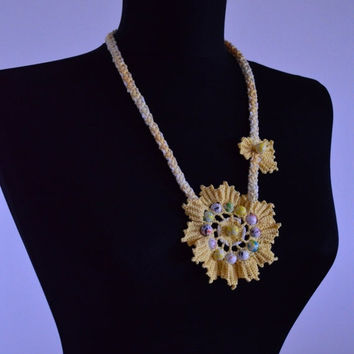 clearance sale Knit necklace,Long Necklace,Yellow necklace,Lariat,Crochet pendant,Any occasion necklace,Flower necklace,Floral necklace,Gift