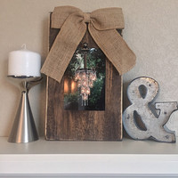 Rustic Wooden Picture Frame with Burlap Bow ** Horizontal or Vertical** | Fixer Upper Decor