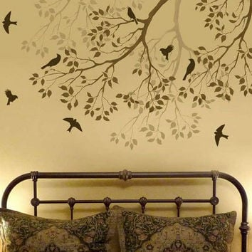 Wall Stencil Spring Songbirds Reusable by CuttingEdgeStencils