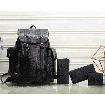 Perfect LV x Supreme Fashion Leather Backpack Travel Bag Purse Wallet Card Bag Set Four-Piece
