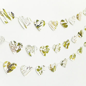 Heart garland, Natural Wedding decor, Paper Decor, Heart Bunting, Botanical Banner, Wedding Bunting