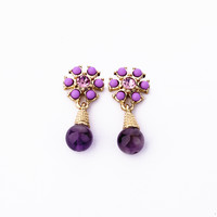 Purple Flower Shape Earrings