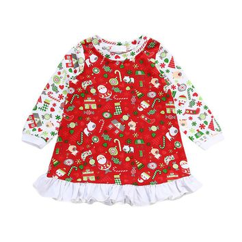 Pudcoco Baby Clothes Long Sleeve Newborn Christmas Gift Print Dress Baby Girls Clothes 2017 Merry Christmas Infant Clothing