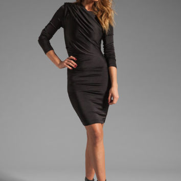 T By Alexander Wang Black Pique Shiny Knit Draped Long Sleeve Dress