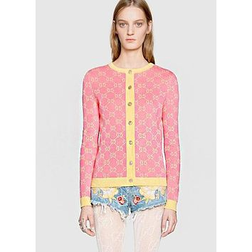 GUCCI Fashion Women Casual Double G Letter Jacquard Long Sleeve Round Collar Knit Cardigan Jacket Coat Pink Sweater