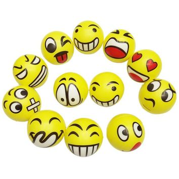 2017 Topsella Emoji Happy Smiley Face Anti Stress Relief Sponge Foam Ball Wrist Exercise Toy For Kids 12 PC