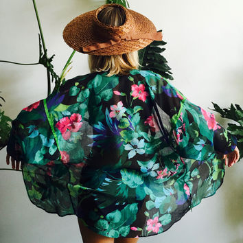 Sheer Palm Leaf Cotton Kimono