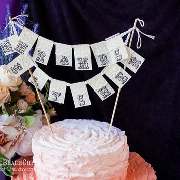 Mr. &  Mrs.and YOUR name Personalized Сustom Lace Wedding Cake Topper Banner with pearls and burlap