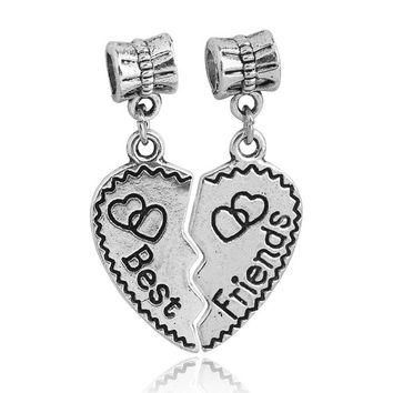 Free Shipping 1PAIR DIY Jewelry Accessories Silver Best Friend Heart Dangle Charms Bea