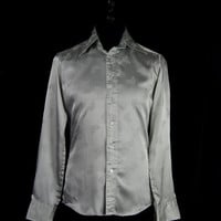 Mens Jaytex shirt -silver with embossed floral pattern - Buttoned cuff with vent - Silk feel polyester