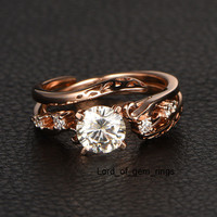 Round Moissanite Engagement Ring VS-H Diamond 14K Rose Gold 6.5mm Unique Band
