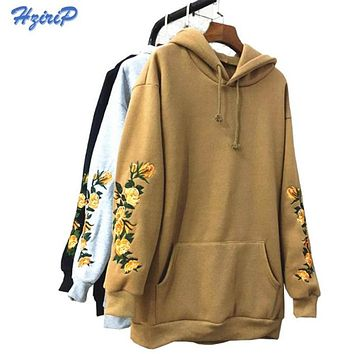 New American Apparel Hooeded Sweatshirt Women Elegant Embroidery Flowers Long-sleeved Pullover Fashion High Quality Hoodies