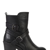 Faux Leather High Heel Boot with Straps and Buckles