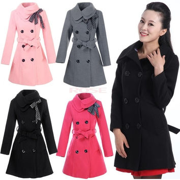 Women Double-breasted Luxury Winter Wool Coat Jacket  3351 = 1652464900