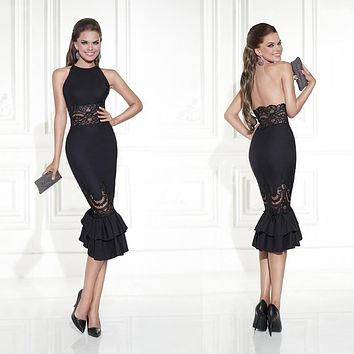 2015 New sexy Collection Party Dresses Vestidos De Festa Lace Black mermaid prom dresses Evening Elegant Cocktail Dresses