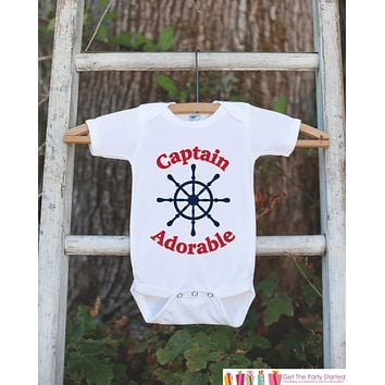 Novelty Baby Shower Gift - Captain Adorable Outfit - Humerous Baby Onepiece - Red and Navy Blue Nautical Bodysuit - Funny Onepiece for Boys