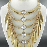 "19"" gold clear crystal choker collar bib boho necklace earrings statement chunky"