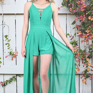 Strappy Caped Maxi Romper {Green}