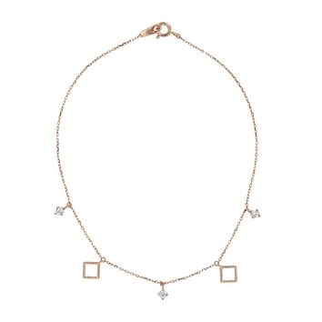 Solid Gold CZ and Twisted Diamond Shape Bracelet or Anklet