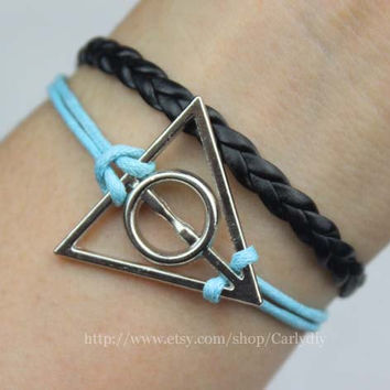 Harry potter Bracelet, Deathly Hallows Necklace, Antique silver Necklace, friendship gift