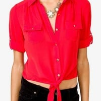 Self-Tie Chiffon Shirt