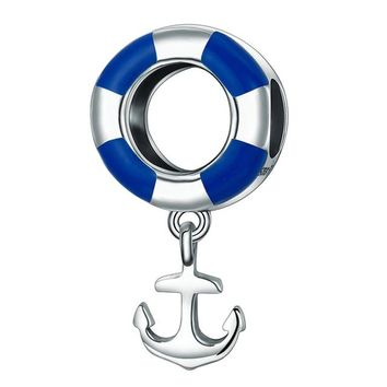 Swimming Pool beach High End Funky Charms Bracelet 925 Sterling Silver White Blue Swim Ring Silver Boat Anchor Charms Jewelry Making Accessory 2.2GSwimming Pool beach KO_14_1
