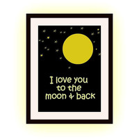 I love you to the moon and back, Nursery girl gift, Printable Wall Art, home decor, new born baby room decal, romantic Quote decal poster