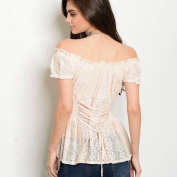 Women's Fashion Blush Top Lace Up Corset Empire Waist Casual Blouse Off Shoulder