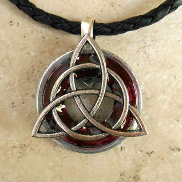 Triquetra Necklace: Wine - Mens Jewelry - Leather Cord - Celtic Jewelry - Mens Necklace - Irish Jewelry - Boyfriend Gift - Fathers Day