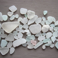 Glass Sea beach Lot polished pieces 75 white Ocean Decor clear parts supply creation ornament transparent
