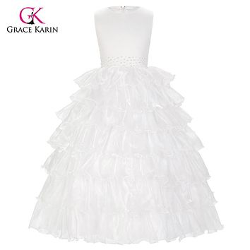 Flower Girl Dresses for Weddings White/Champagne Sleeveless Layers Princess Wedding Pageant Girls Party Dress 2~12Years 8994