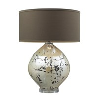 D2262 Limerick Ceramic Table Lamp In Turrit Gloss Beige With Brown Linen Shade
