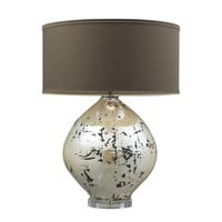 D2262 Limerick Ceramic Table Lamp In Turrit Gloss Beige With Brown Linen Shade - Free Shipping!