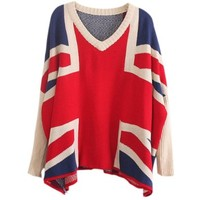 UK Flag Batwing Pattern V-neck Long Loose Sleeve knit sweater, Free Necklace